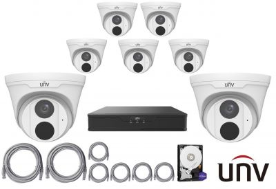 4MPx IP kamerový set UNIVIEW 7+1 (turret)